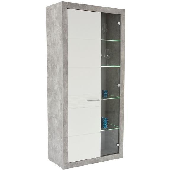 Vitrină Malta - alb/culoare aluminiu, Modern, plastic/sticlă (96/197/35cm)