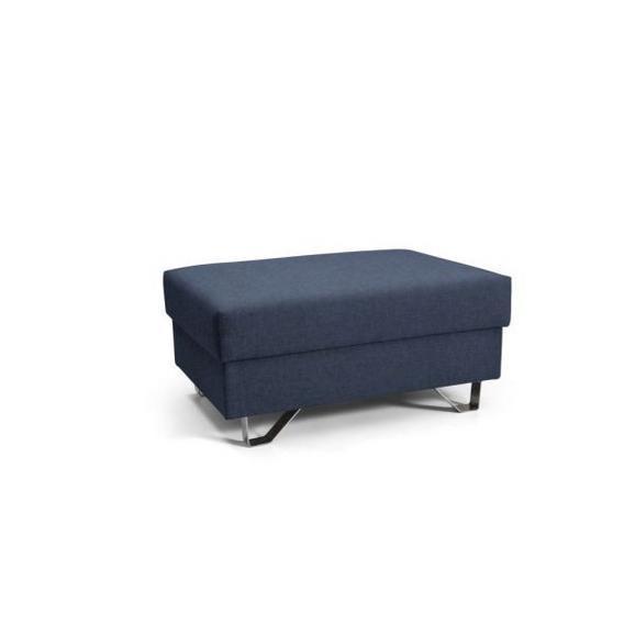 Hocker Blau - Blau/Chromfarben, MODERN, Textil/Metall (64/43/92cm) - Premium Living