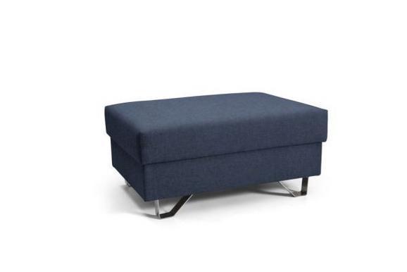 Hocker in Blau - Blau/Chromfarben, MODERN, Textil/Metall (64/43/92cm) - PREMIUM LIVING