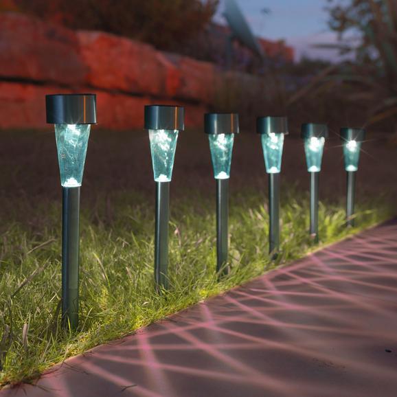 Solarleuchte Alois max. 0,06 Watt, 6er Set - Klar/Edelstahlfarben, Kunststoff/Metall (4,7/4,7/35cm) - Mömax modern living