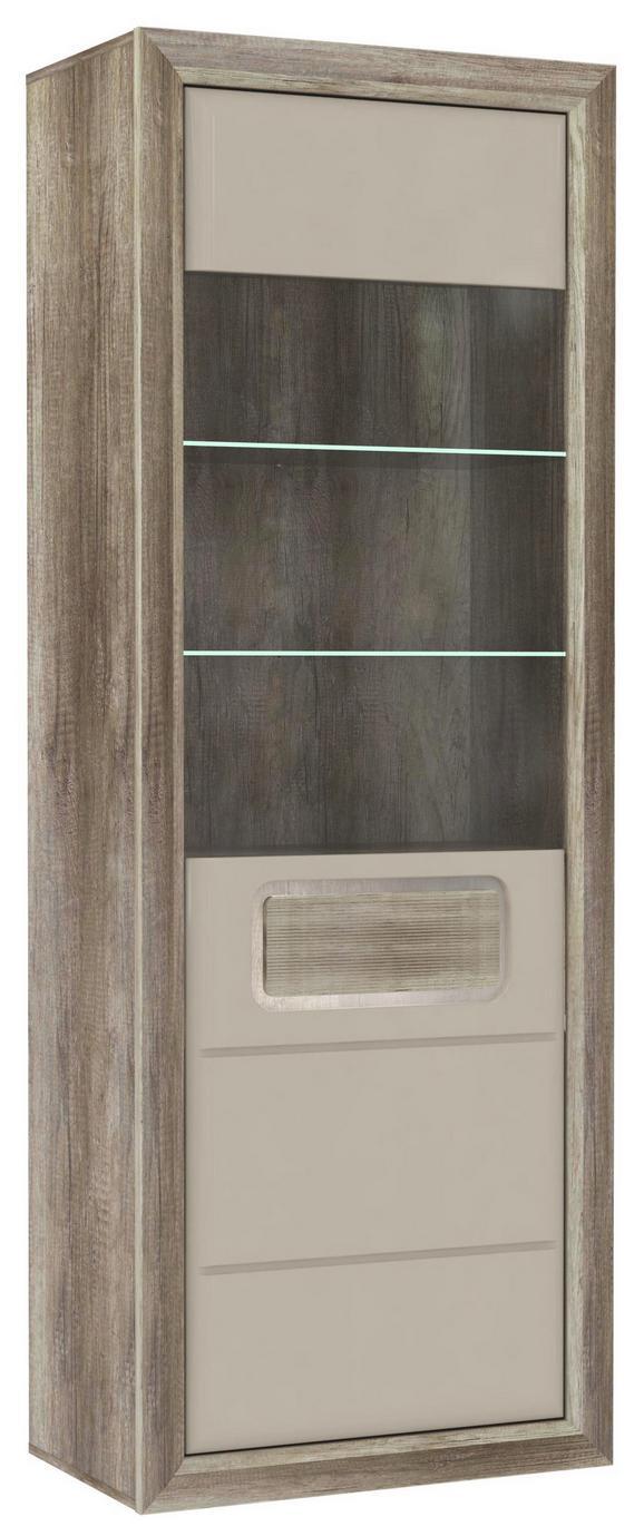 Visoka Vitrina Tiziano - siva/hrast, Moderno, kovina/umetna masa (74/203,4/43,5cm) - Mömax modern living