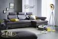 Wohnlandschaft in Grau mit Bettfunktion - Chromfarben/Grau, MODERN, Textil/Metall (288/88/174cm) - Premium Living