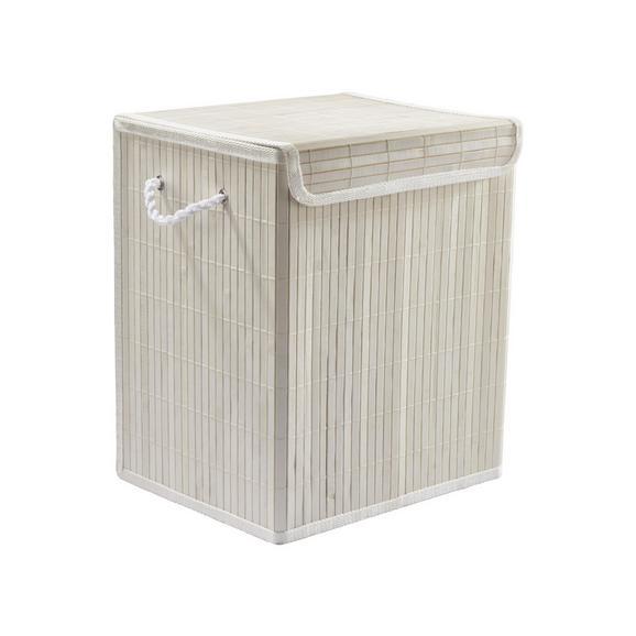 Wäschetonne Bamboo White Weiß - Weiß, Holz (33/23/38cm) - Mömax modern living