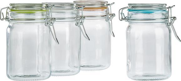 Vorratsglas Mimi aus Glas, ca. 75ml - Türkis/Klar, Glas/Kunststoff (4,3/8,5cm) - MÖMAX modern living