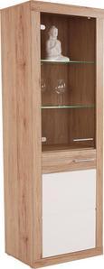 Vitrină Malta - Alb/Culoare stejar, Modern, Sticlă/Compozit lemnos (63,9/196,6/34,9cm)