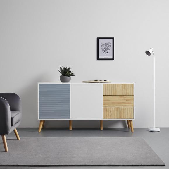 SIDEBOARD in weiß/grau 'Evlyn' - Hellbraun/Eichefarben, MODERN, Holz (160/83/45cm) - Bessagi Home