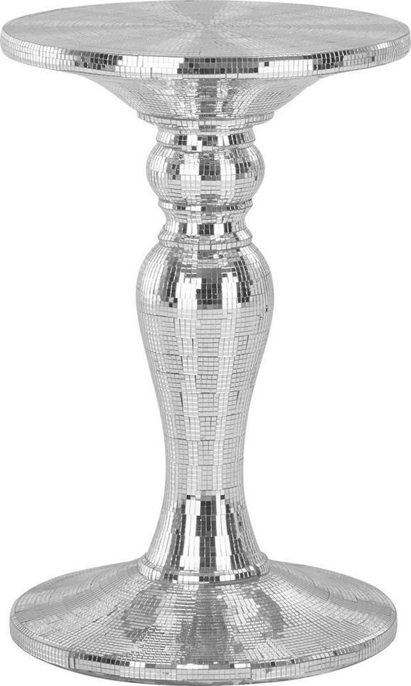 Blumensäule in Silberfarben - Silberfarben, Glas/Kunststoff (43/63/43cm) - Premium Living