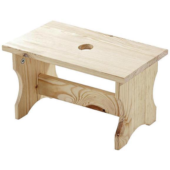 Taburet Uni 2 - culoare lemn pin, Natur, lemn (40/19/21cm)