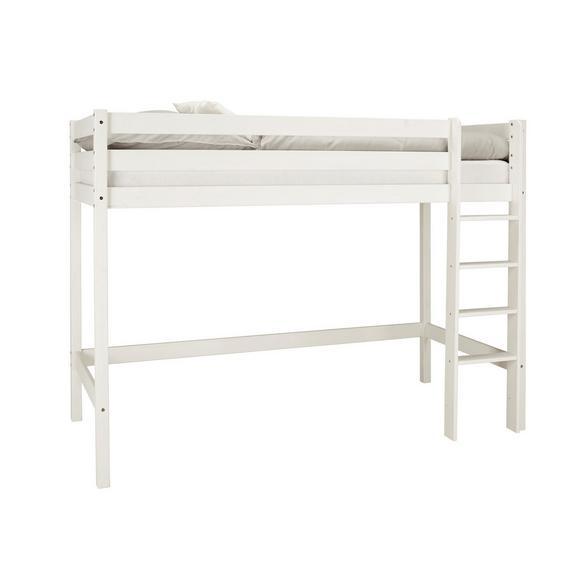 Hochbett aus Kiefer massiv - Weiß, KONVENTIONELL, Holz (90/200cm) - Based