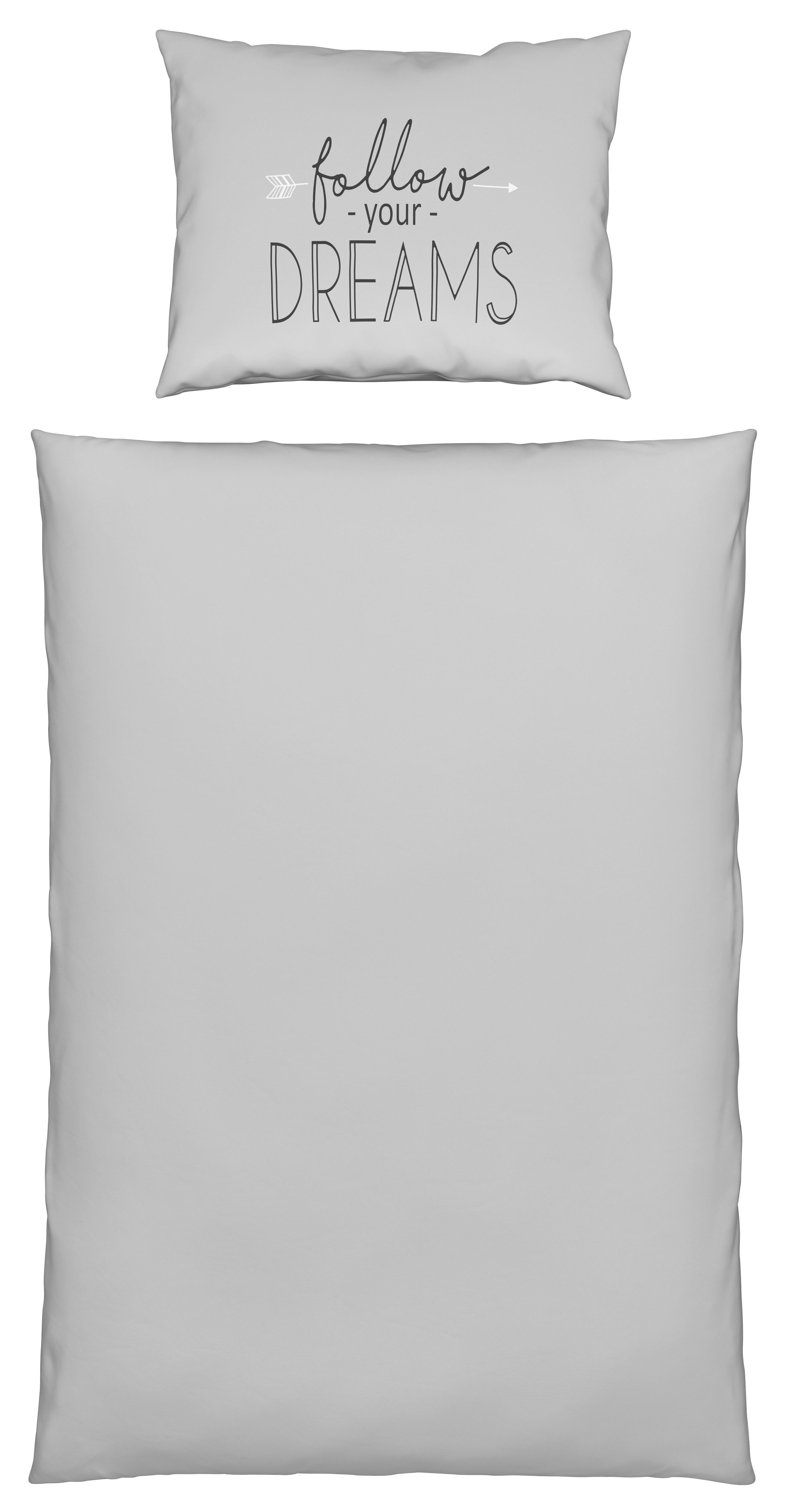 Ágyneműhuzat- Garnitúra Follow Dreams -ext- - világosszürke, modern, textil (140/200cm) - MÖMAX modern living