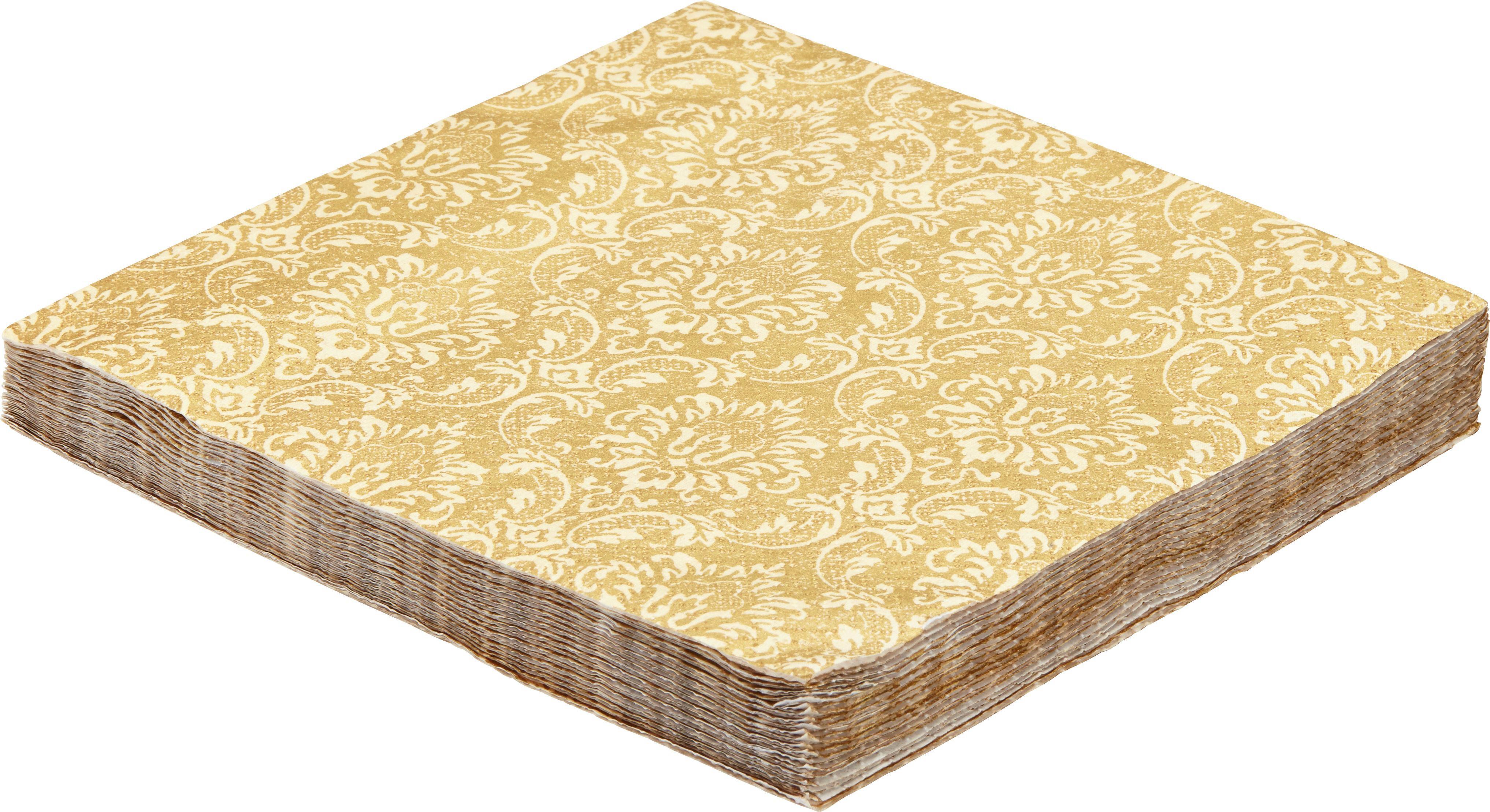 Serviette Patty aus Papier in Goldfarben - Goldfarben/Creme, LIFESTYLE, Papier (16,5/16,5/2,5cm) - MÖMAX modern living
