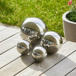 Dekokugelset aus Edelstahl in Silberfarben 4-teilig ''Mia'' - Silberfarben, Metall - Bessagi Garden
