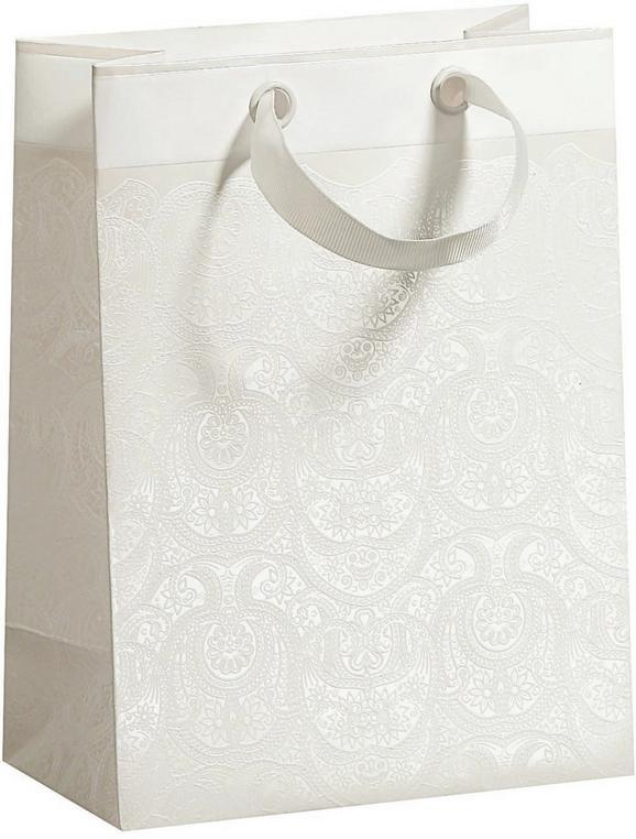 Geschenktasche Ornament in Weiß - Weiß, ROMANTIK / LANDHAUS, Papier (17/22,5/9cm)