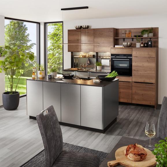 Einbauküche Inox/structura in Eiche Nb - Edelstahlfarben/Eichefarben, MODERN, Holzwerkstoff (270/180cm)