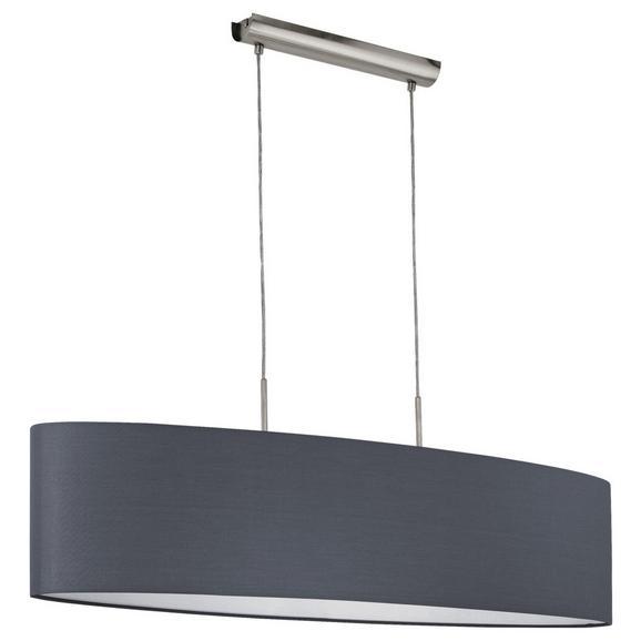 Hängeleuchte max. 60 Watt 'Pasteri 2' - Grau/Nickelfarben, MODERN, Textil/Metall (100/28/110cm)