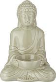 Teelichthalter Buddha aus Keramik in Grau - Grau, LIFESTYLE, Keramik (11,6/9/16,7cm) - Mömax modern living