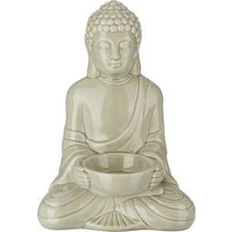 Teelichthalter Buddha Grau - Grau, LIFESTYLE, Keramik (11,6/9/16,7cm) - Mömax modern living