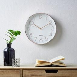 Uhr Ona ca.ø30,3cm - Goldfarben/Weiß, MODERN, Glas/Kunststoff (30,3cm) - Mömax modern living