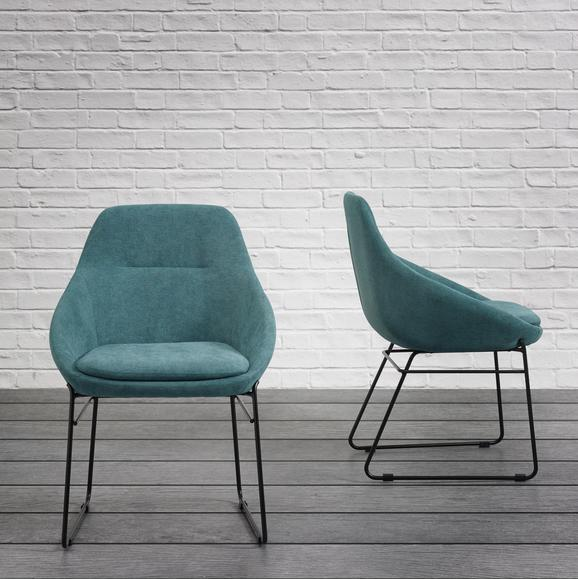 Stuhl Vivian - Schwarz/Grün, MODERN, Holz/Textil (58,5/83,5/61cm) - Mömax modern living