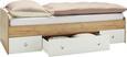 Postelja Dirk - bela/hrast, Konvencionalno, leseni material (94/42-60/204cm) - MODERN LIVING