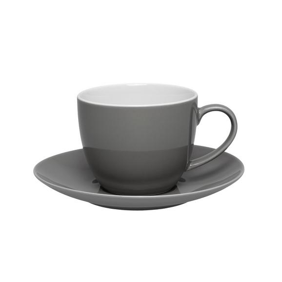 Skodelica Za Kavo S Krožničkom Sandy - siva, Konvencionalno, keramika (5/6,9cm) - Mömax modern living