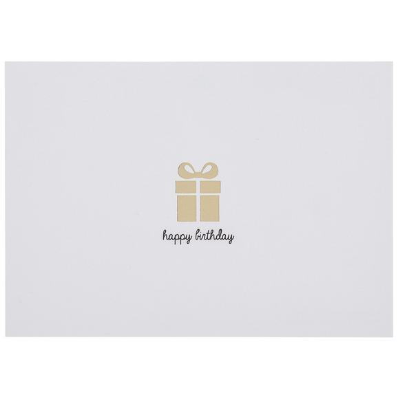 Postkarte Happy Birthday - Goldfarben/Weiß, Papier (14,8/10,5cm)