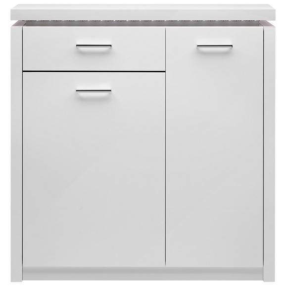 Schuhschrank in Weiß Hochglanz - Chromfarben/Weiß, MODERN, Holzwerkstoff/Kunststoff (102/107/29cm) - Mömax modern living