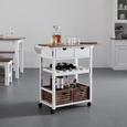 SERVIERWAGEN aus Kiefer 'Alessandra' - Schwarz/Weiß, MODERN, Holz/Kunststoff (85/82/36cm) - Bessagi Home