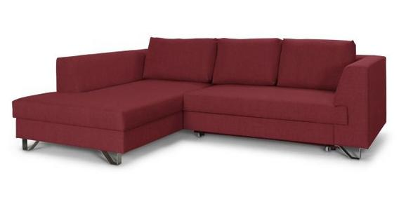 Wohnlandschaft mit Bettfunktion - Chromfarben/Rot, MODERN, Textil/Metall (196/280cm)