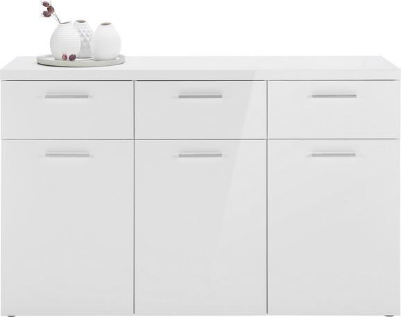 Sideboard Weiß Hochglanz - Chromfarben/Alufarben, MODERN, Holzwerkstoff/Kunststoff (129,5/81,8/40cm) - MÖMAX modern living