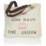 Handtasche in  Beige 'Queen' ca.50x40cm - Beige/Rot, LIFESTYLE, Textil (50/40cm) - Bessagi Home