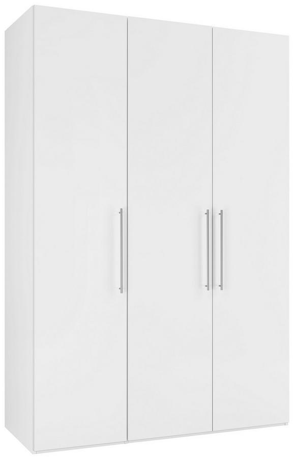 Drehtürenschrank Weiß Hochglanz - Chromfarben/Weiß, KONVENTIONELL, Holzwerkstoff/Metall (147/219/60cm) - Modern Living