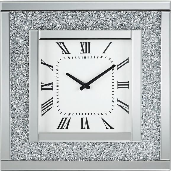 Wanduhr Diamant, ca. 51x51x12cm - Silberfarben, MODERN, Glas/Holz (51/51/5cm) - MÖMAX modern living