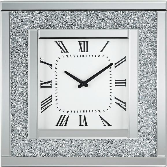wanduhr diamant ca 51x51x12cm silberfarben modern glas holz 51