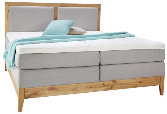 Boxspringbett Eiche Massiv 140x200cm - Eichefarben/Beige, KONVENTIONELL, Holz/Textil (204/140/120cm) - Premium Living