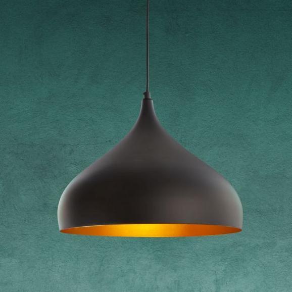 Pendelleuchte Joris - Goldfarben/Schwarz, MODERN, Metall (33/120cm) - Modern Living