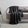 Decke in Grau ca. 130x170 cm 'Rahel' - Grau, MODERN, Textil (130/170cm) - Bessagi Home