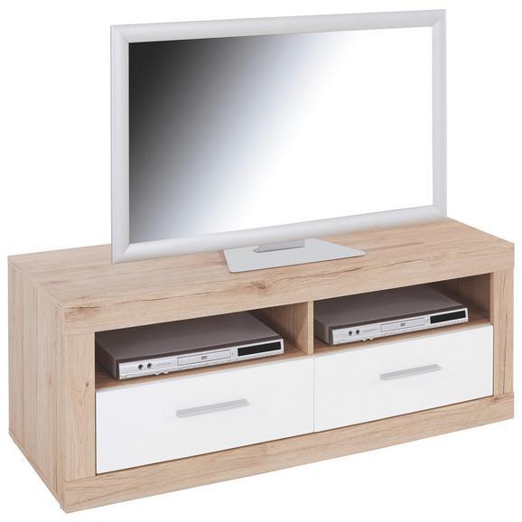 Tv-element Malta - bijela/boje hrasta, Modern, drvo (128/50/42cm)
