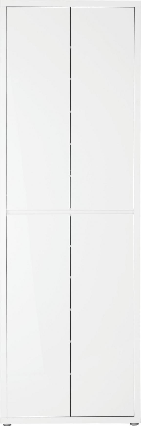 Mehrzweckschrank in Weiß Hochglanz - Weiß/Grau, MODERN, Holzwerkstoff/Kunststoff (70/210,6/34cm) - Mömax modern living