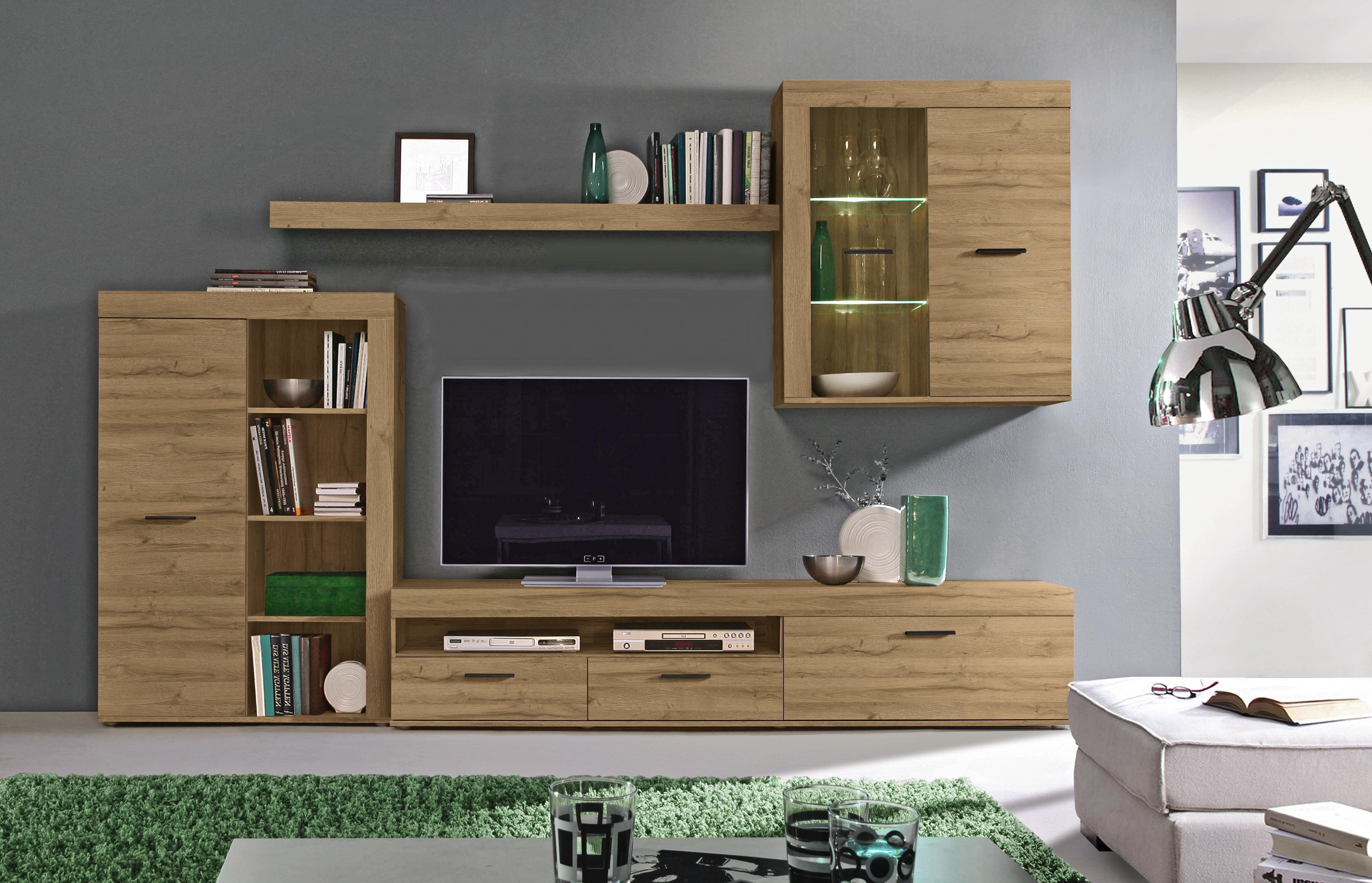 wohnwand eichefarben grau jeanne and jerome. Black Bedroom Furniture Sets. Home Design Ideas