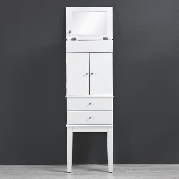 Schmuckschrank Jewel - Weiß, Glas/Holz (40,6/113/28cm) - premium living