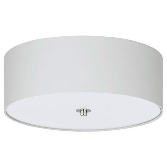 Deckenleuchte Pasteri max. 60 Watt - Weiß/Nickelfarben, MODERN, Textil/Metall (47,5/19,5cm)
