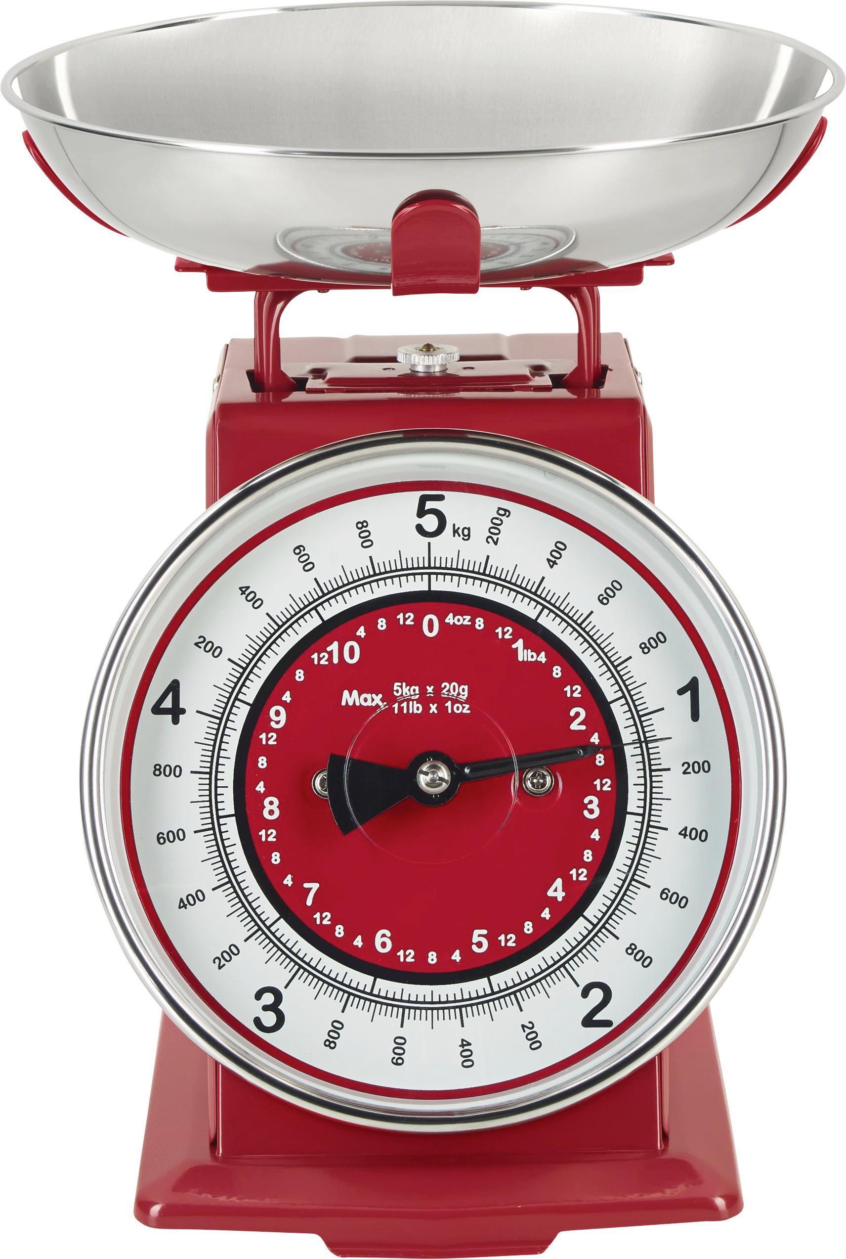 KONYHAI MÉRLEG RETRO - piros/fehér, fém (20,5/20,5/25,5cm) - MÖMAX modern living