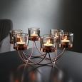 Kerzenhalter Eike inkl. Gläser ca. 29/9 cm - Kupferfarben, MODERN, Glas/Metall (29/25,5/9cm) - Bessagi Home