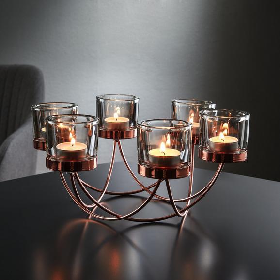 Kerzenhalter Eike inkl. Gläser ca. 29/9 cm - Kupferfarben, MODERN, Glas/Metall (29/25,5/9cm) - Mömax modern living