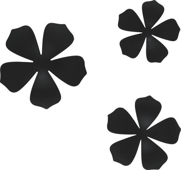 Wanddeko Flower Schwarz - Schwarz, MODERN, Kunststoff (10,5/16,8cm) - Mömax modern living