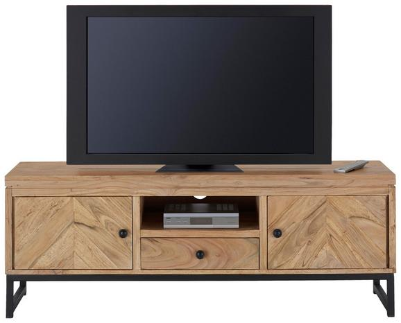 TV-Element Iholz Schwarz - Schwarz/Akaziefarben, LIFESTYLE, Holz/Metall (140/50/40cm) - ZANDIARA