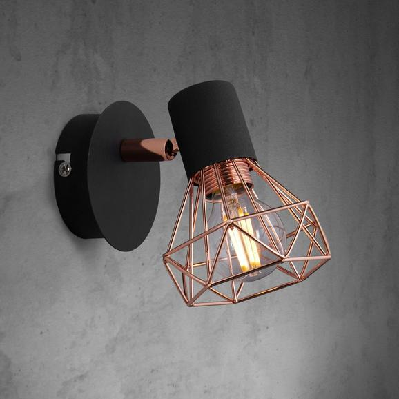 Wandspot Jessy - Schwarz/Kupferfarben, MODERN, Metall (12,5/10/12,5cm) - Modern Living