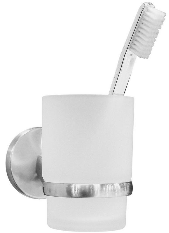 Zahnputzbecher Weiß/edelstahlfarben - Weiß, Glas (7/9,5/11,5cm) - FACKELMANN
