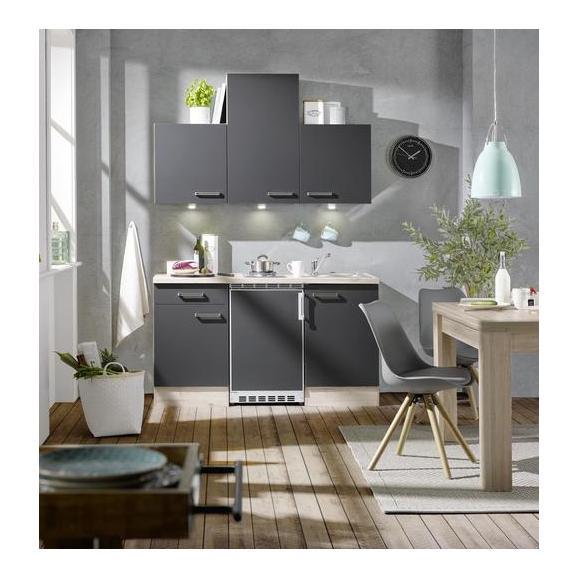 Bucătărie Milano - culoare lemn stejar/antracit, Modern, compozit lemnos (150cm)